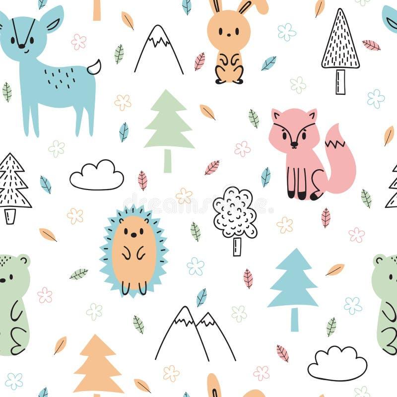 与逗人喜爱的手拉的森林动物的无缝的幼稚样式 织品的设计纹理,包裹,纺织品,装饰 森林 皇族释放例证