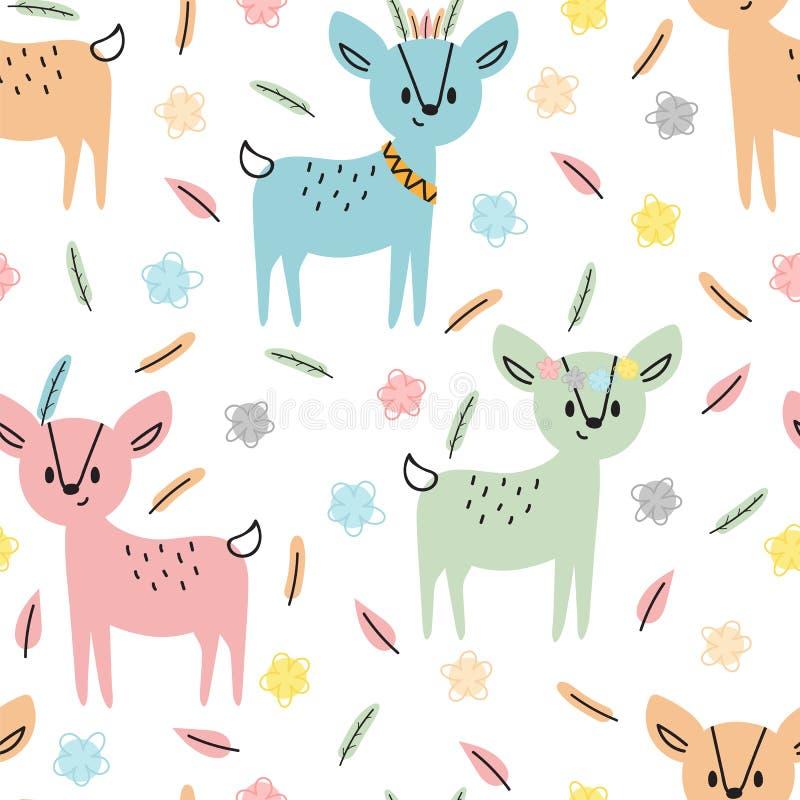 与逗人喜爱的手拉的鹿的部族无缝的样式 织品或纺织品的幼稚纹理 开玩笑背景 库存例证