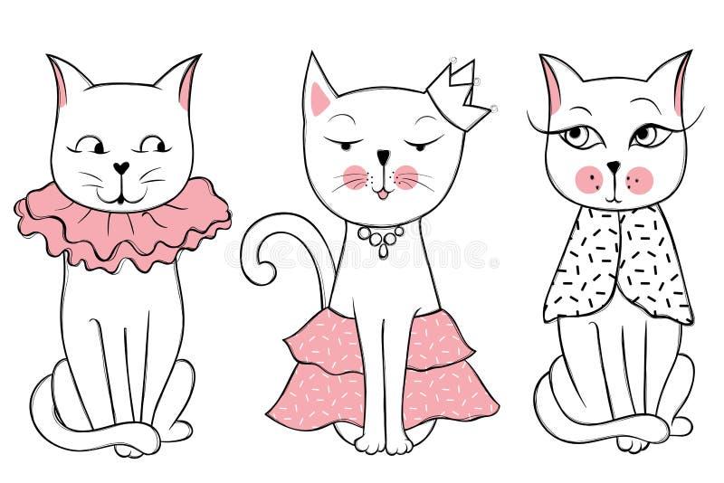 与逗人喜爱的时尚猫的传染媒介系列 时髦的小猫集合 向量例证
