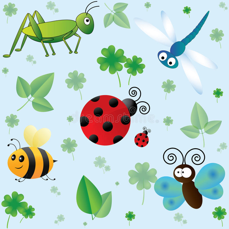 与逗人喜爱的昆虫的无缝的样式 皇族释放例证
