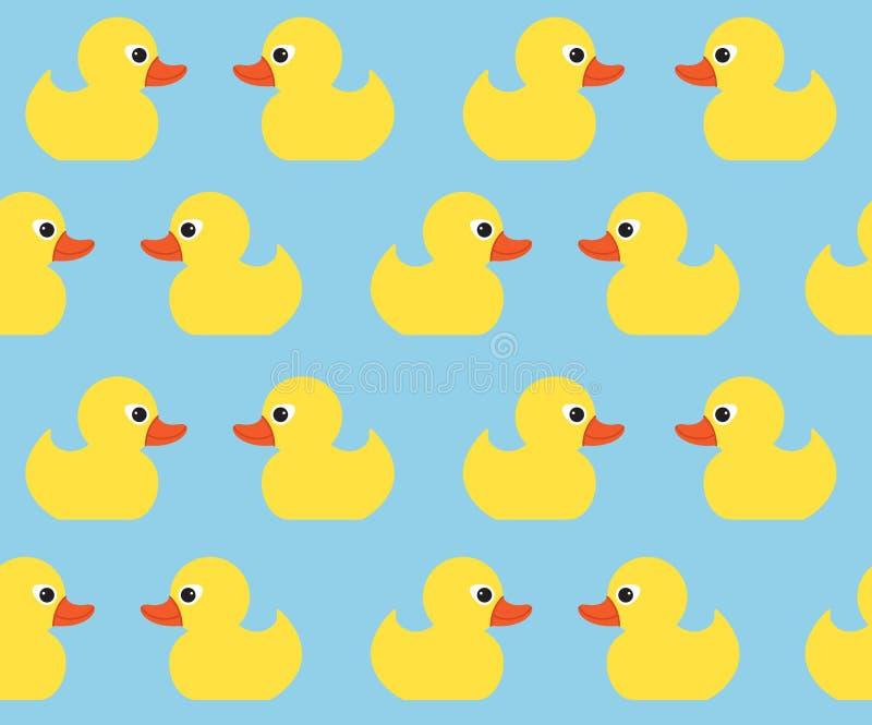 与逗人喜爱的明亮的黄色鸭子的无缝的传染媒介样式 E 皇族释放例证