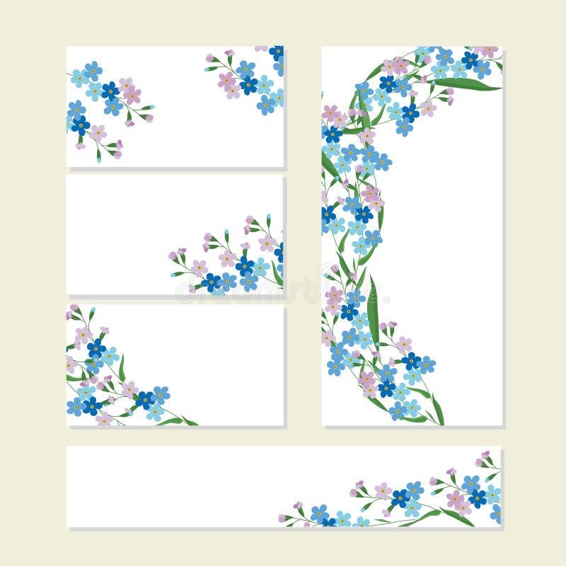 与逗人喜爱的束的花卉夏天模板在白色的蓝色勿忘草 对浪漫设计,公告 皇族释放例证