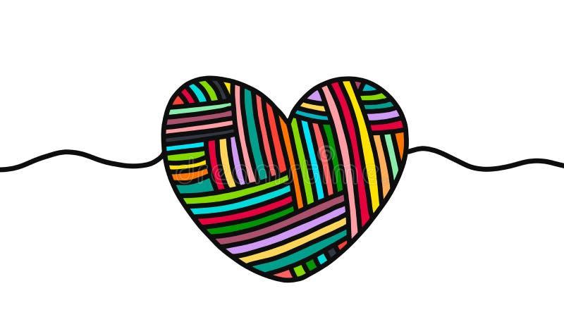 与逗人喜爱的标志的毛线心脏手拉的例证在动画片样式 库存例证