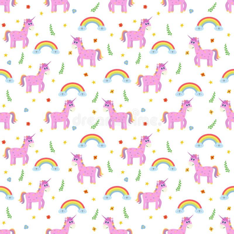 与逗人喜爱的桃红色独角兽和彩虹的无缝的样式 时尚c 皇族释放例证
