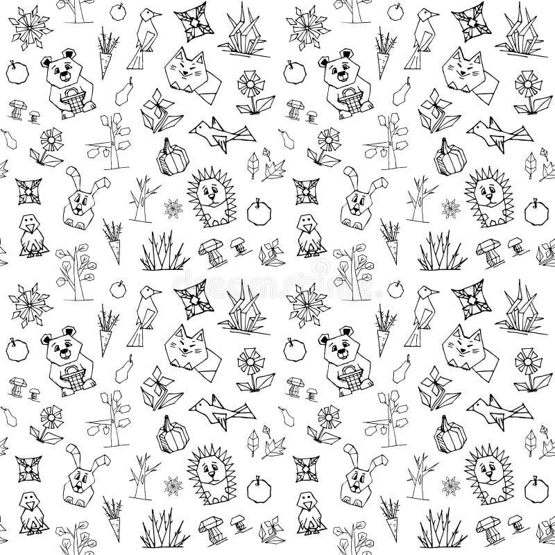 与逗人喜爱的森林动物的传染媒介无缝的样式 向量例证