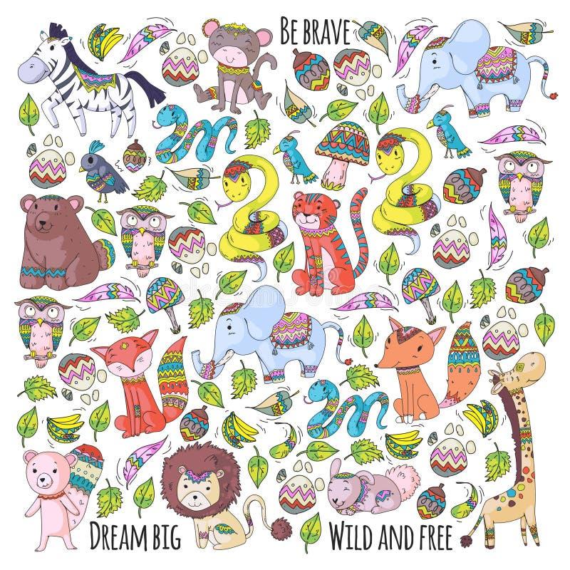 与逗人喜爱的森林和密林动物的样式 Fox,老虎,狮子,斑马,熊,鸟,鹦鹉,蛇,灰鼠,大象 向量例证