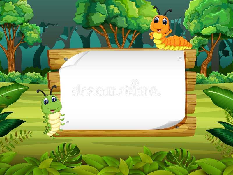 与逗人喜爱的毛虫的木板空格有森林背景 库存例证