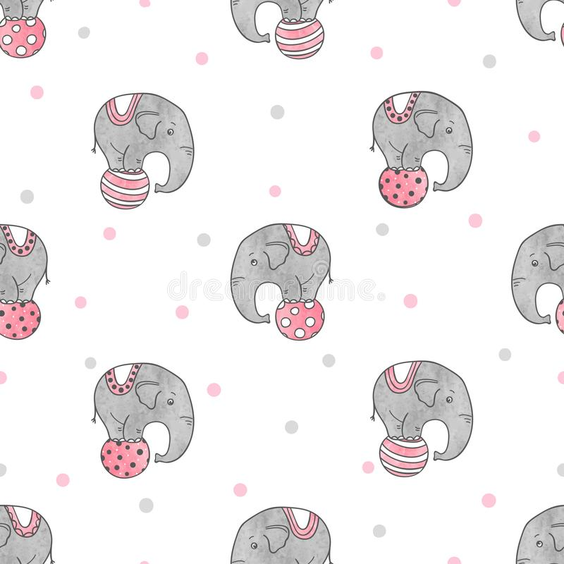 与逗人喜爱的水彩马戏大象的无缝的样式 向量例证