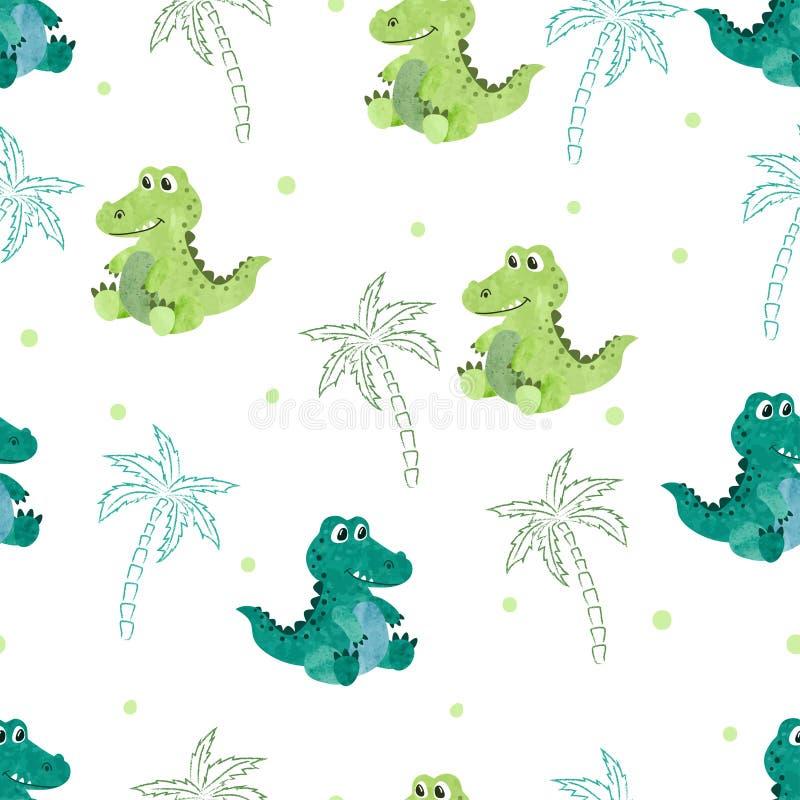 与逗人喜爱的水彩鳄鱼和棕榈的无缝的样式 向量例证