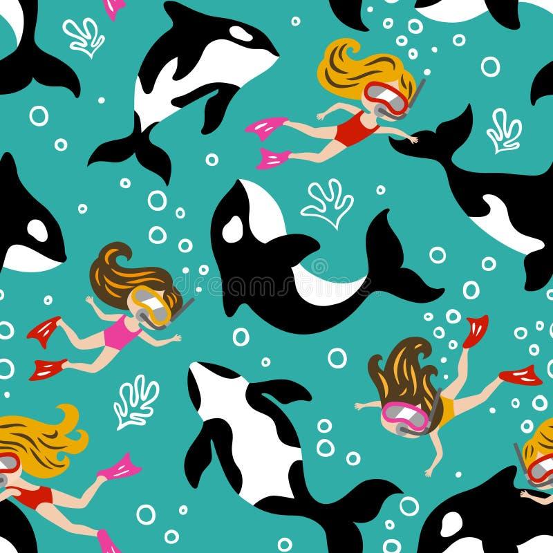 与逗人喜爱的海豚和潜水女孩的手拉的无缝的传染媒介样式 库存例证