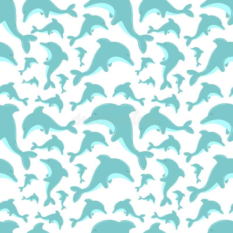 与逗人喜爱的海豚的无缝的夏天样式 传染媒介孩子的海例证,假日,背景,印刷品,织品,婴孩,卡片, 皇族释放例证