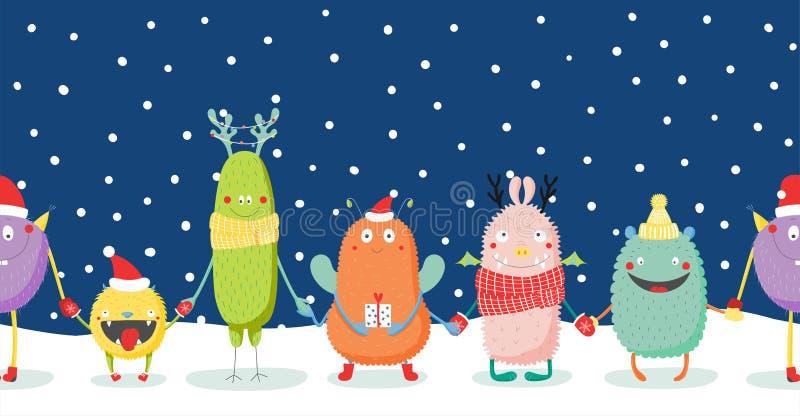 与逗人喜爱的滑稽的妖怪的圣诞卡 库存例证