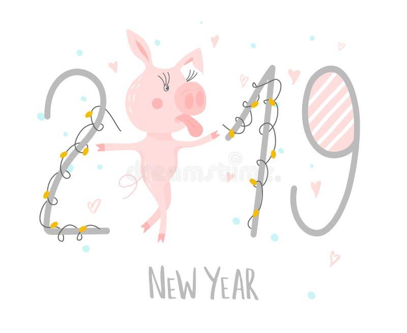与逗人喜爱的滑稽的猪-年的标志的明信片在中国日历的2019年 贪心漫画图片