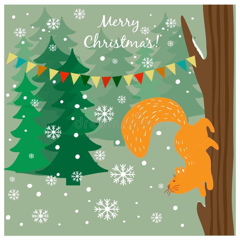 与逗人喜爱的灰鼠的圣诞卡在森林 向量例证
