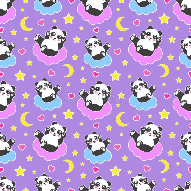 与逗人喜爱的熊猫、月亮、心脏、星和云彩的晚安无缝的样式 美梦背景 向量 库存例证