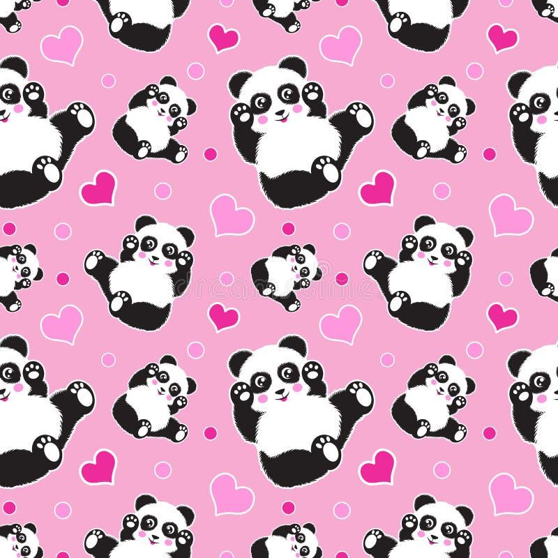 与逗人喜爱的熊猫和心脏的无缝的样式 滑稽的儿童的背景,印刷品,缎带包装 库存图片