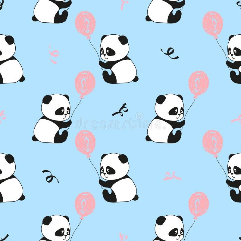 与逗人喜爱的熊猫和气球的无缝的样式 向量例证