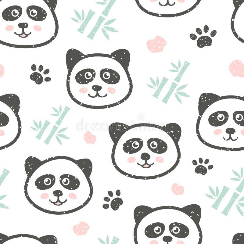 与逗人喜爱的熊猫和竹子的幼稚无缝的样式 织品的创造性的纹理 库存例证