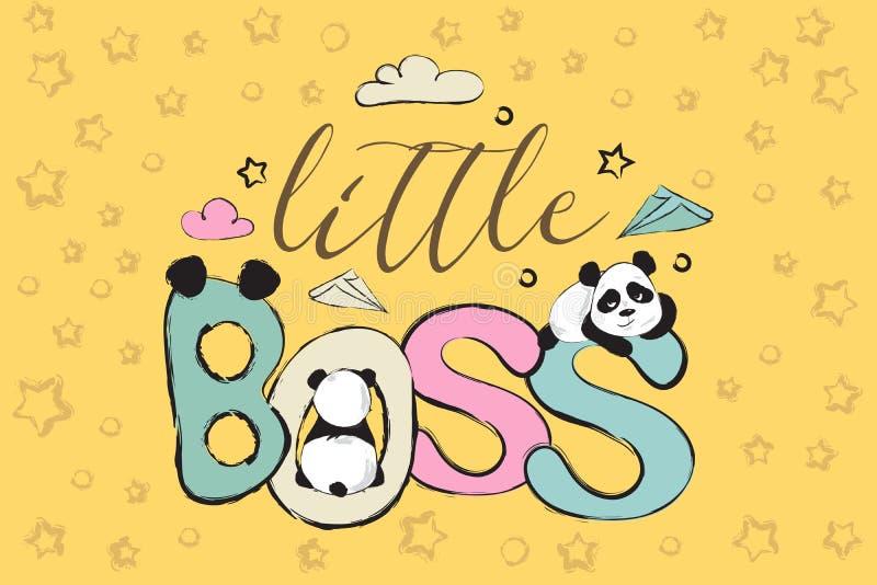 与逗人喜爱的熊猫和行情的小的上司贺卡设计 皇族释放例证