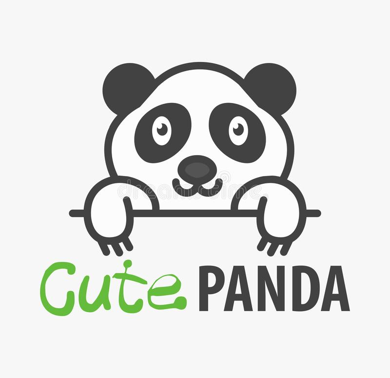 与逗人喜爱的熊猫的商标模板 传染媒介商标宠物店、兽医诊所和动物庇护所的设计模板 动画片熊 向量例证