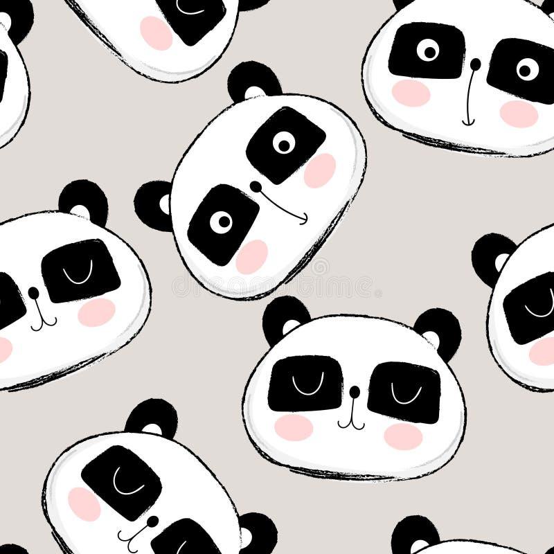 与逗人喜爱的熊猫面孔的无缝的样式 皇族释放例证