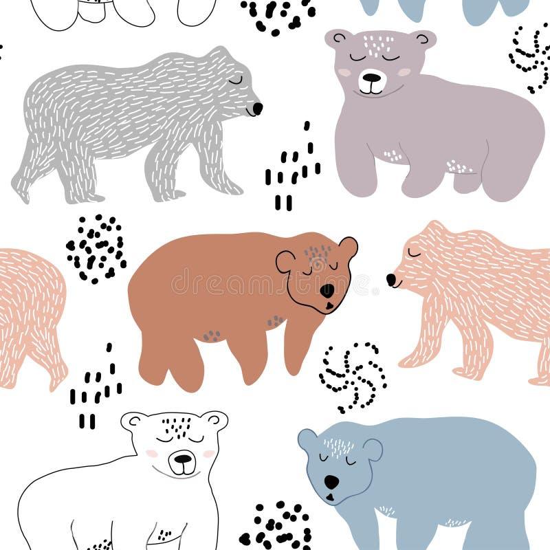 与逗人喜爱的熊的无缝的样式 织品的,纺织品,托儿所装饰传染媒介例证 库存例证