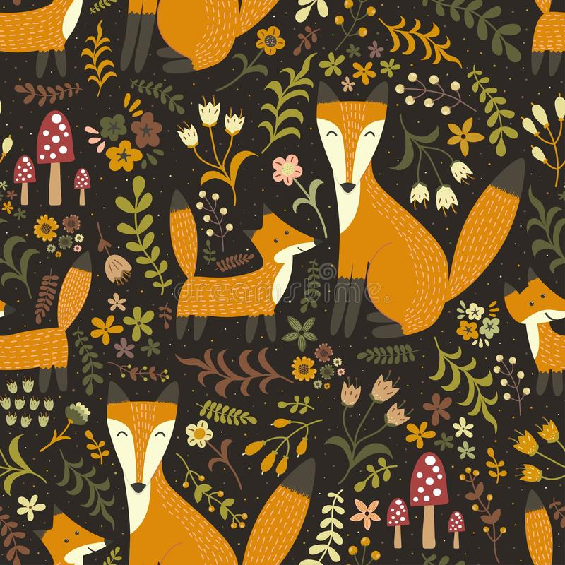 与逗人喜爱的狐狸的可爱的无缝的样式-照顾狐狸和她的婴孩 库存例证