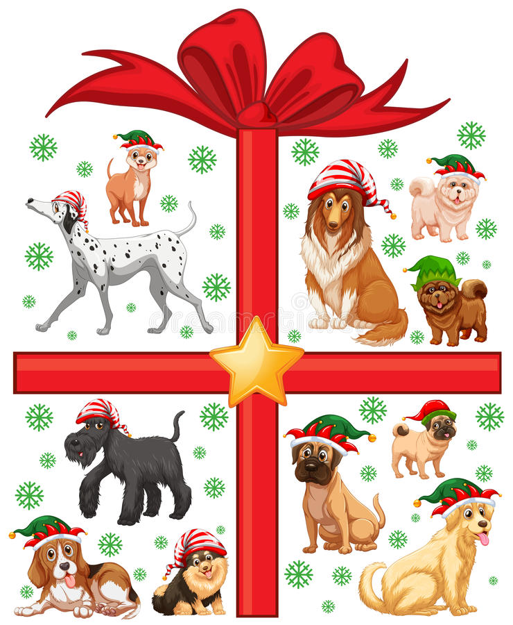 与逗人喜爱的狗和当前箱子的圣诞节题材 皇族释放例证