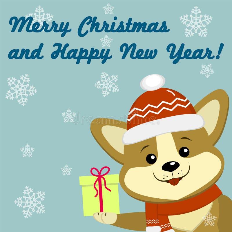 与逗人喜爱的狗小狗的圣诞卡在红色帽子和围巾 库存例证