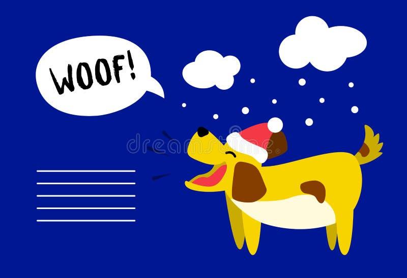 与逗人喜爱的狗的新年快乐卡片在帽子和雪在蓝色背景覆盖 平的样式 向量 向量例证