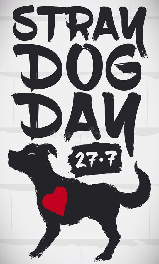 与逗人喜爱的狗的街道画与纪念流浪狗天,传染媒介例证的心脏 库存例证