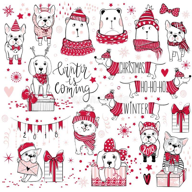 与逗人喜爱的狗,熊,礼物, snowfl的巨大的圣诞节收藏 库存照片