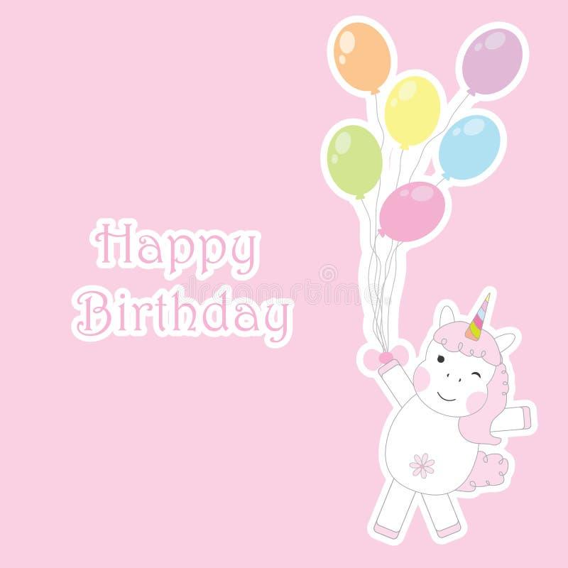 与逗人喜爱的独角兽女孩的生日贺卡带来在桃红色背景的五颜六色的气球孩子生日邀请卡片的 库存例证