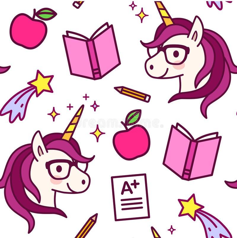 与逗人喜爱的独角兽的无缝的样式与镜片,流星,苹果,课本,铅笔,A+考试成绩 ?? 皇族释放例证