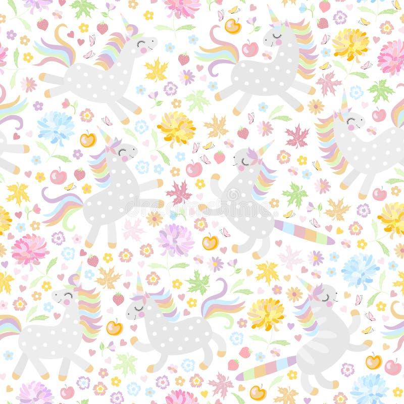 与逗人喜爱的独角兽的无缝的样式和在白色背景的五颜六色的花 也corel凹道例证向量 库存例证