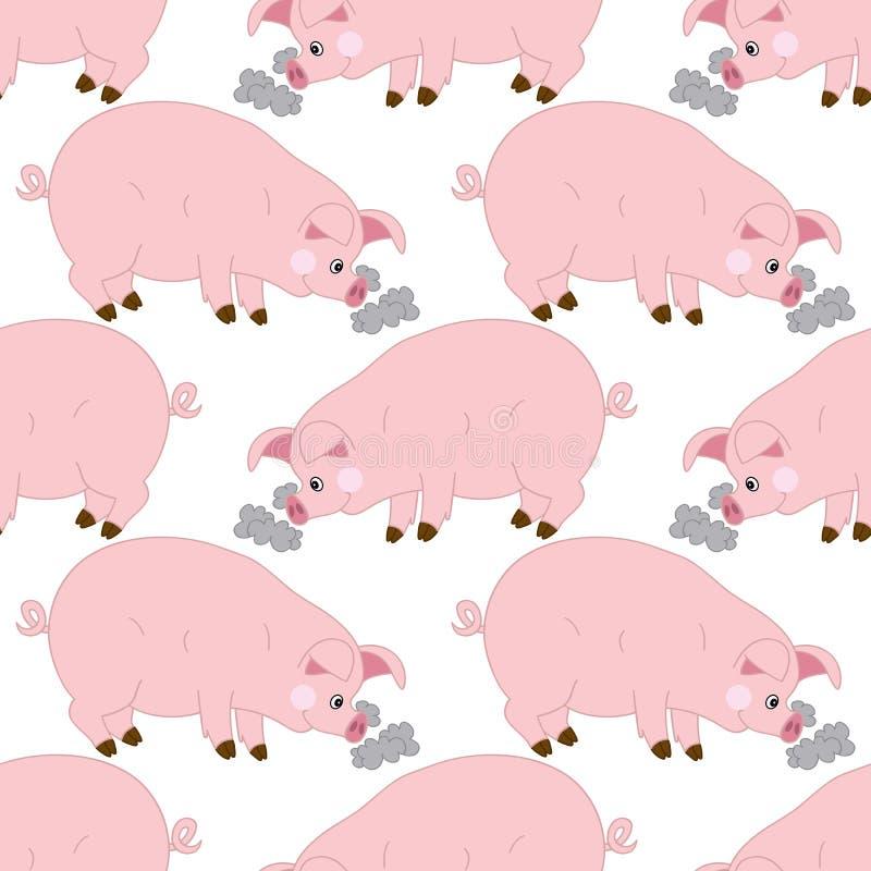 与逗人喜爱的猪的传染媒介无缝的样式 传染媒介小猪 猪无缝的样式传染媒介例证 向量例证