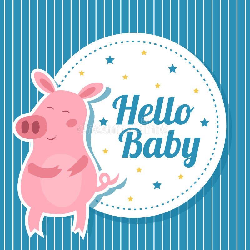 与逗人喜爱的猪的婴儿送礼会卡片 向量例证