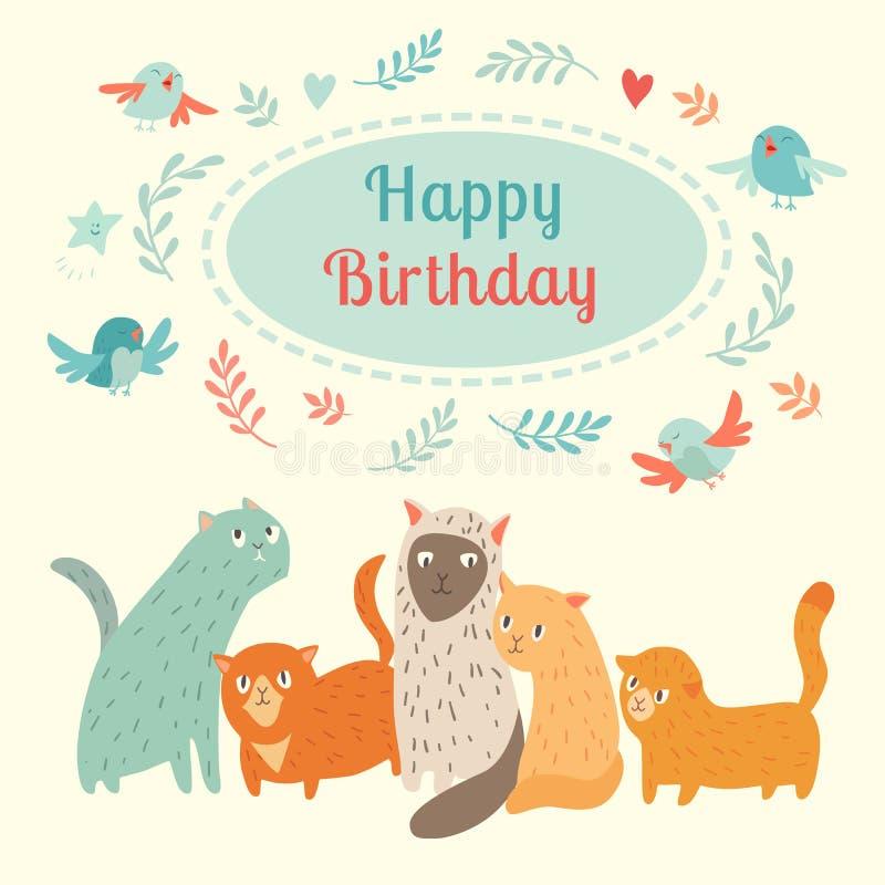 与逗人喜爱的猫和鸟的生日快乐可爱的卡片 皇族释放例证