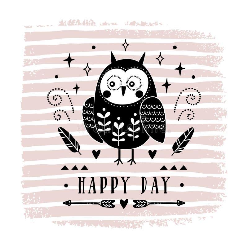 与逗人喜爱的猫头鹰的传染媒介卡片 儿童`的s例证打印,问候,海报, T恤杉,包装,邀请 明信片 皇族释放例证