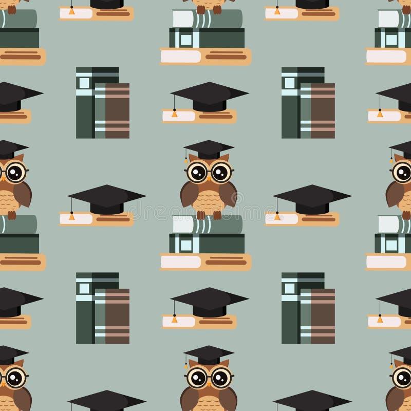 与逗人喜爱的猫头鹰的传染媒介无缝的样式在有毕业盖帽的镜片坐堆书和书 皇族释放例证