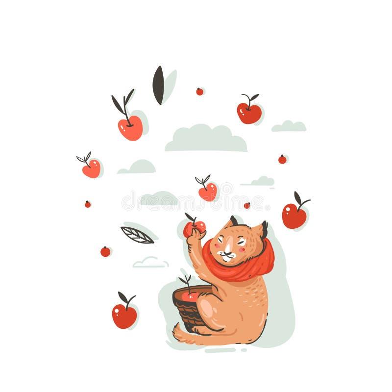 与逗人喜爱的猫字符的手拉的传染媒介摘要问候动画片秋天例证收集了苹果收获与 库存例证