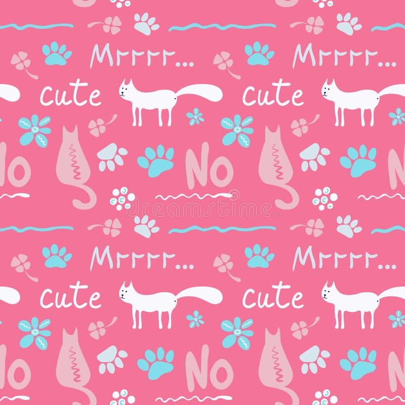 与逗人喜爱的猫的传染媒介无缝的样式在软的颜色 库存例证