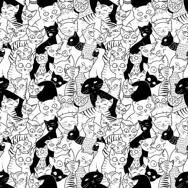 与逗人喜爱的猫的无缝的传染媒介样式 库存例证