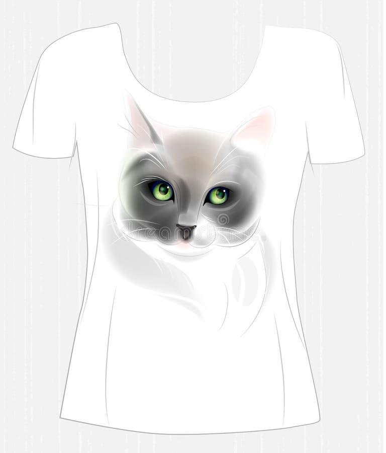 与逗人喜爱的猫的T恤杉设计 向量例证