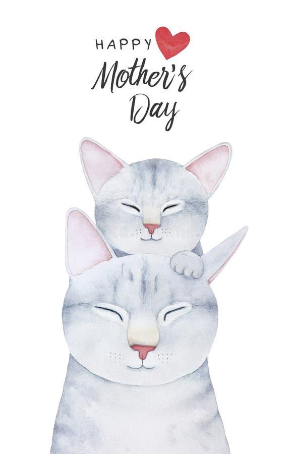 与逗人喜爱的猫科的愉快的母亲` s天卡片模板 向量例证