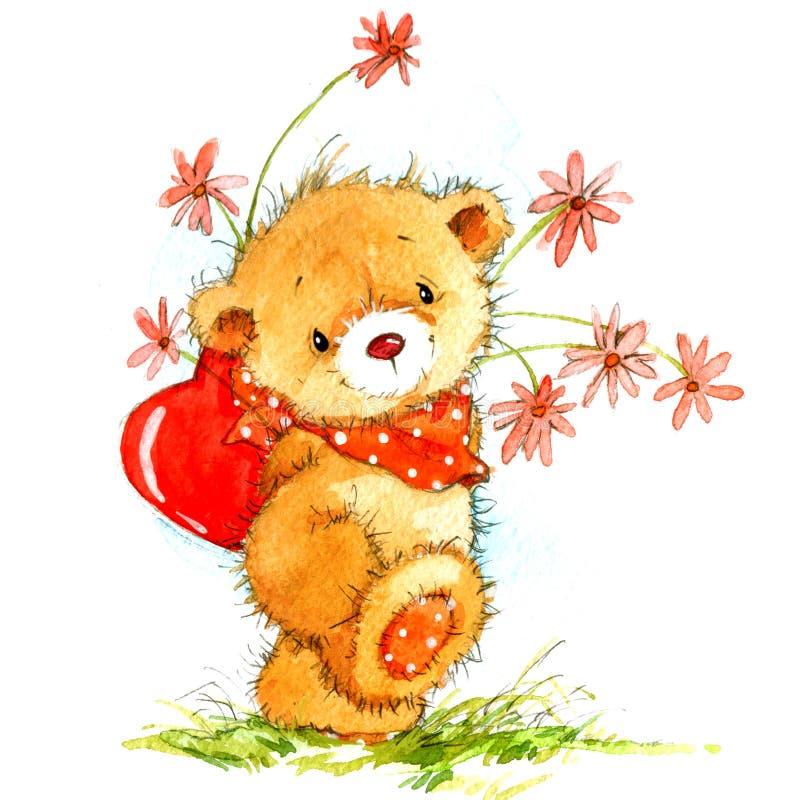 与逗人喜爱的玩具熊和红色心脏的情人节背景 额嘴装饰飞行例证图象其纸部分燕子水彩 皇族释放例证