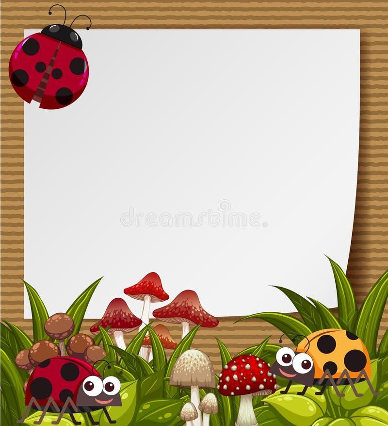 与逗人喜爱的瓢虫的边界模板在庭院里 皇族释放例证