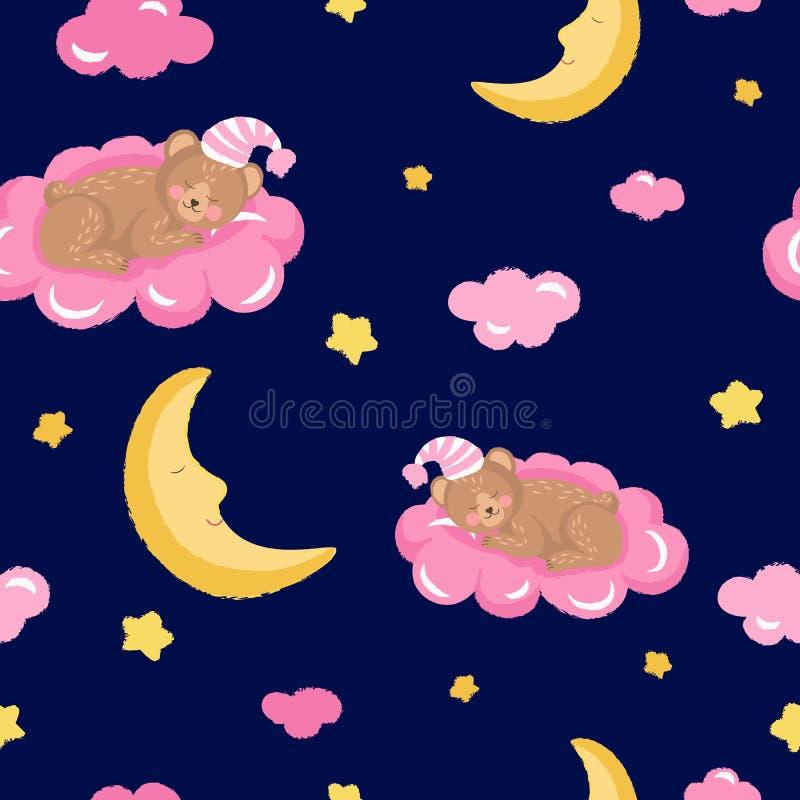 与逗人喜爱的睡觉玩具熊、云彩、星和月亮的无缝的样式 向量例证
