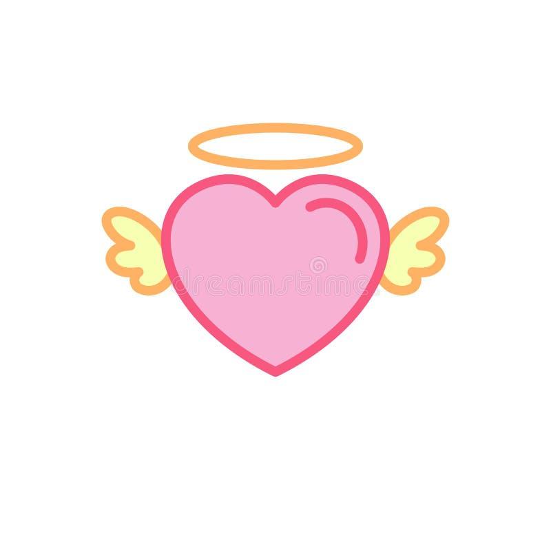 与逗人喜爱的神仙的翼象的爱 简单的心脏例证线型商标模板设计 向量例证
