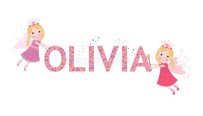 与逗人喜爱的神仙的奥利维亚女性名字 向量例证
